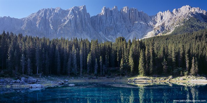 Lake Carezza, Latemar peaks, Dolomites, Italy