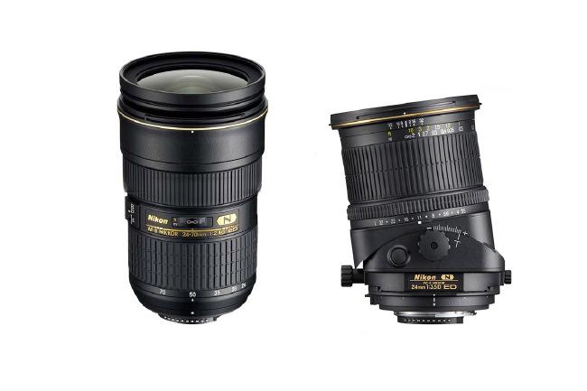 24-70 mm AFS Nikon et 24 mm PCE (à décentrement)