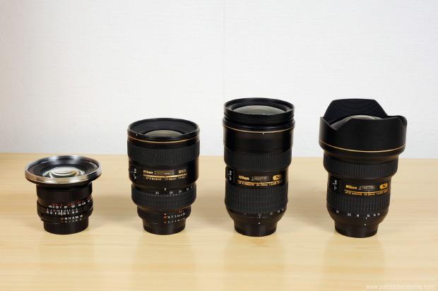 4 objectifs pour le D800: Zeiss 18 mm, Nikon 17-35 AFS, 24-70 AFS, 14-24 AFS