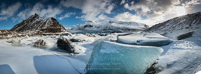 Skaftafell, grands glaciers (panoramique HD par assemblage)
