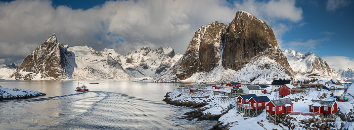 Lofoten, Hamnoy, panoramique HD, 3 images , Nikon D850