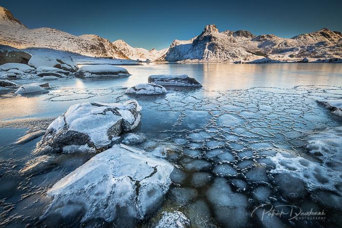 Lofoten, fjord pris en glace, Nikon D850 et 14-24 mm f2,8
