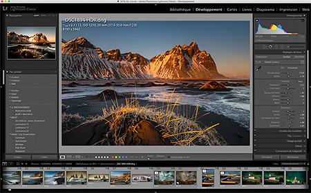 Interface du logiciel de référence Adobe Lightroom