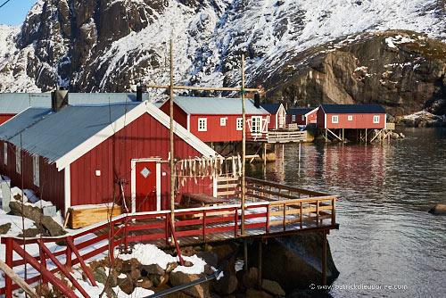 rorbuer, maisons traditionnelles de pêcheurs, Lofoten, Norvège