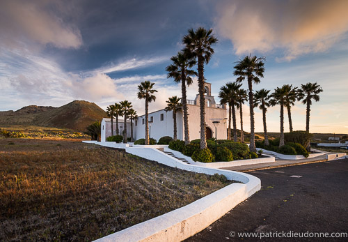 Church and palm trees, Lanzarote